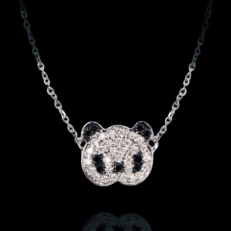 Bao Bao Wan Panda necklace with black and white diamonds