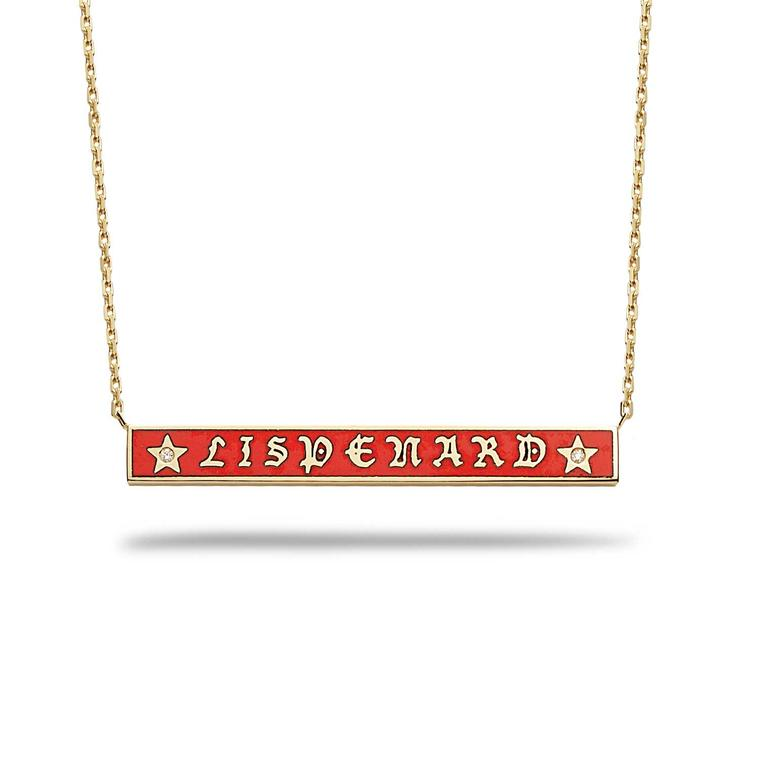 Foundrae personalized enamel bar necklace