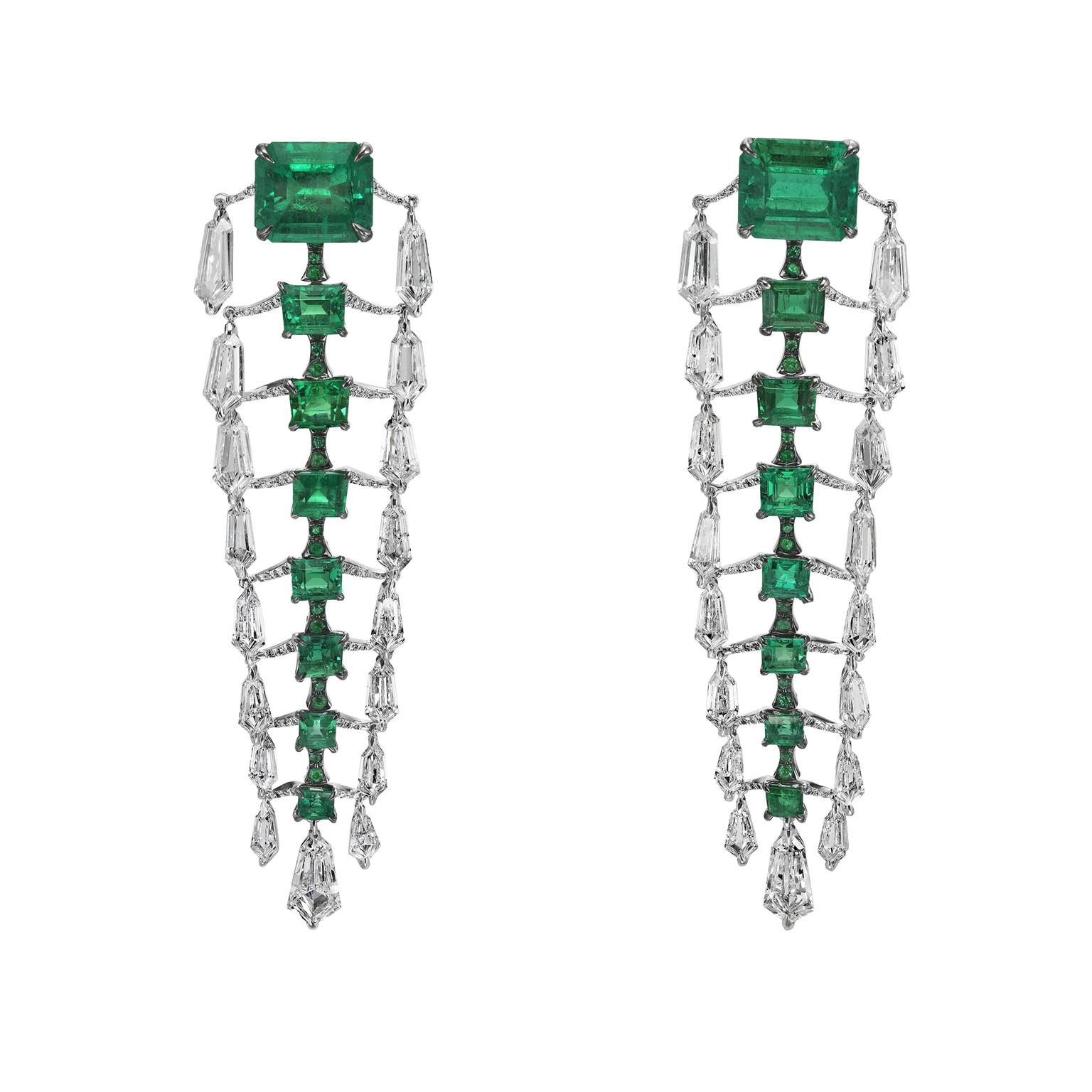 Boghossian diamond and emerald drop earrings