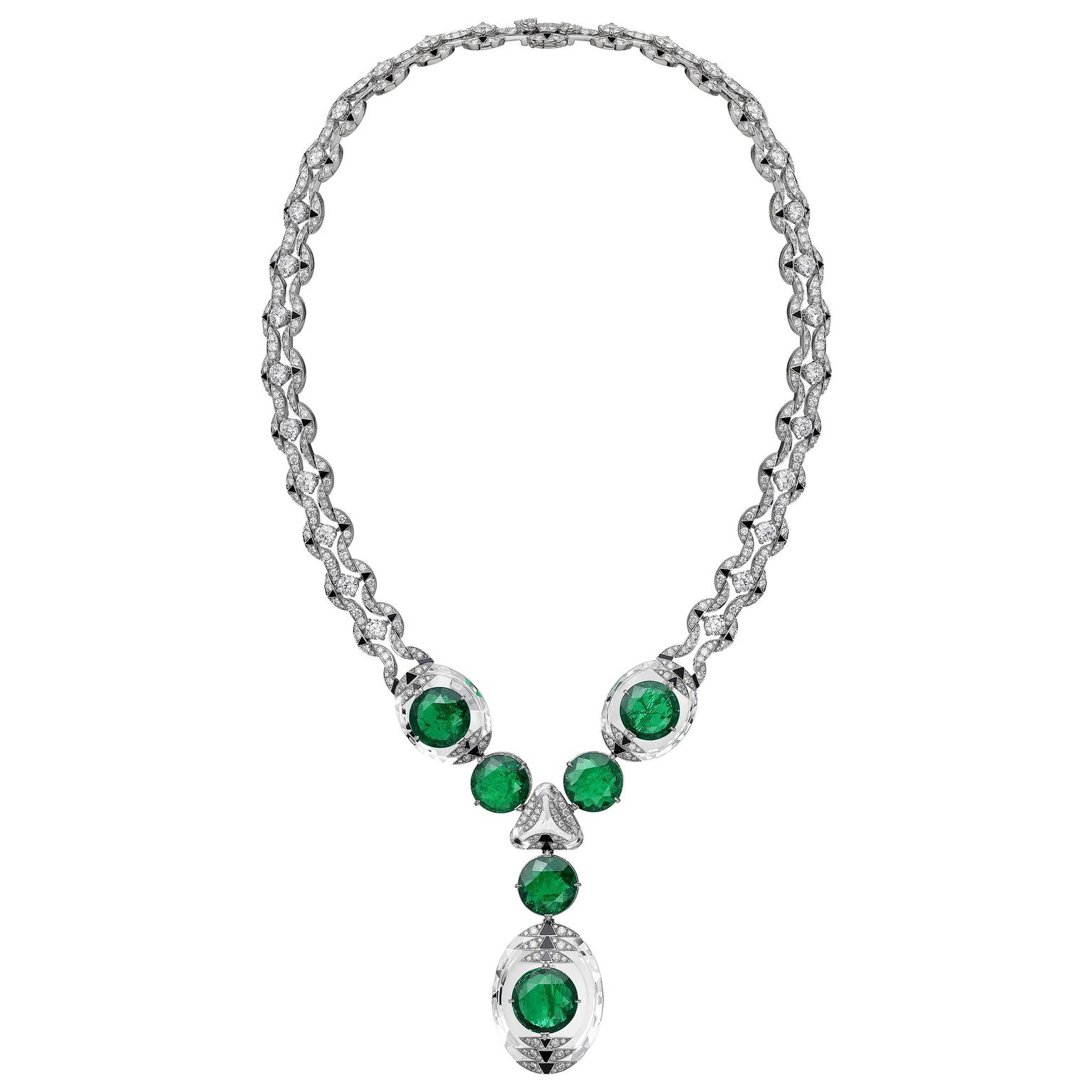 Emerald and rock crystal necklace from Cartier