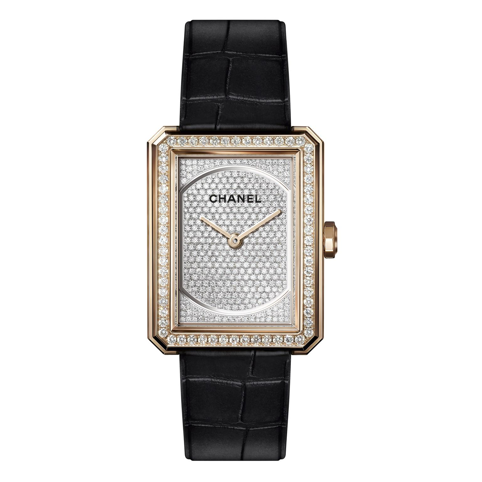 Chanel Boy.Friend watch with paved dial in beige gold