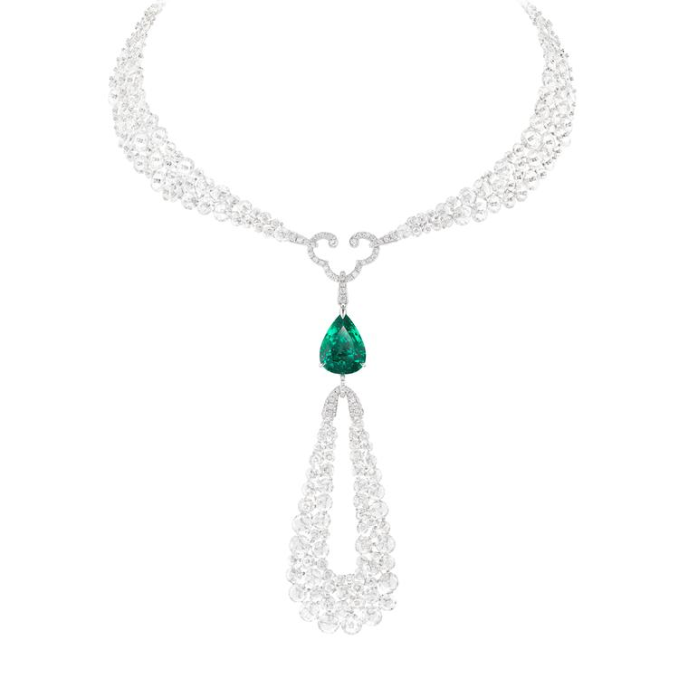 Talisman diamond and flawless 10ct emerald necklace