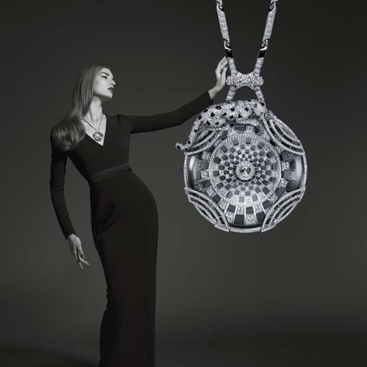Cartier Panthère de Cartier collection white gold necklace with rock crystal, onyx, emeralds and diamonds.