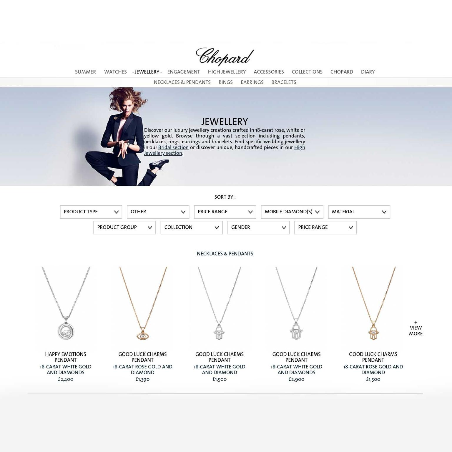 Chopard E-boutique jewellery landing page