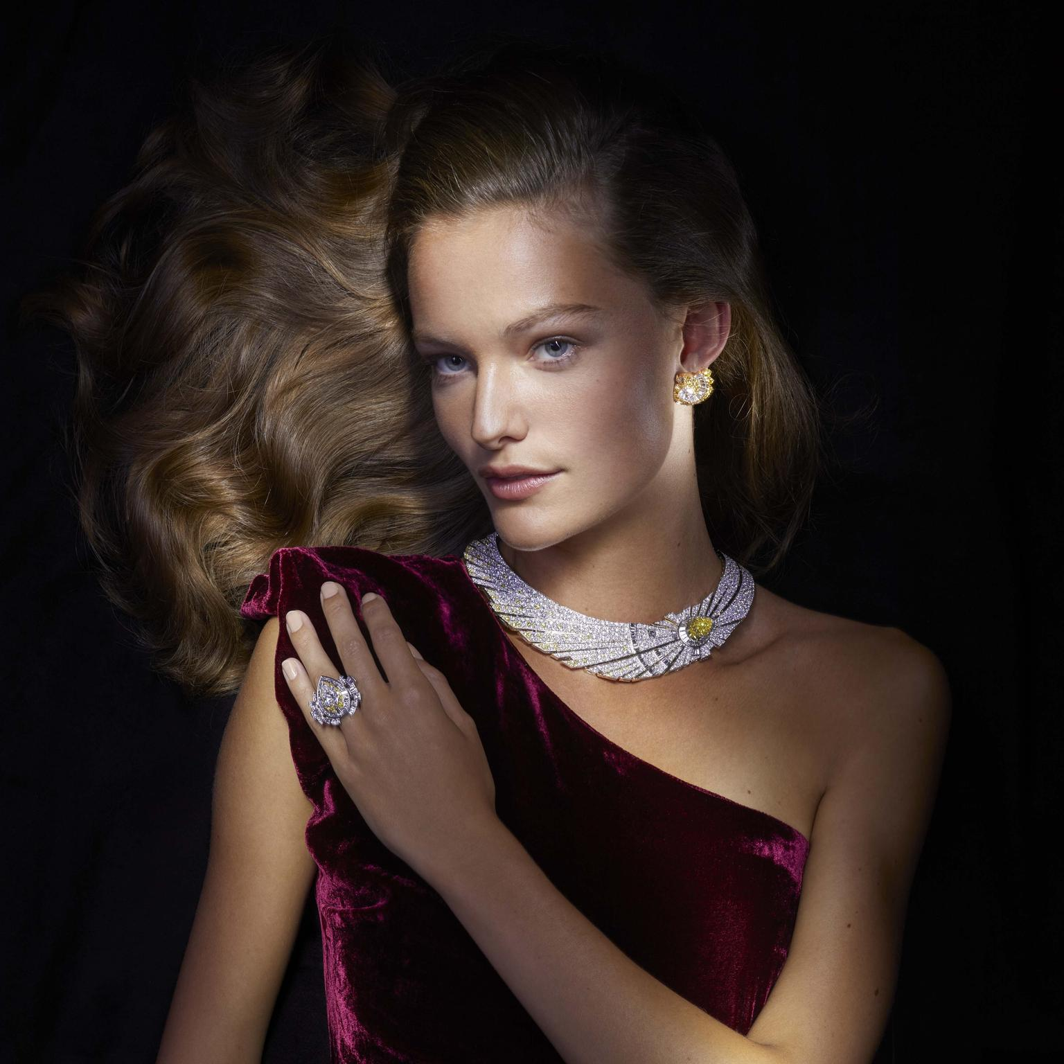 Halley necklace and ring by Van Cleef and Arpels on model
