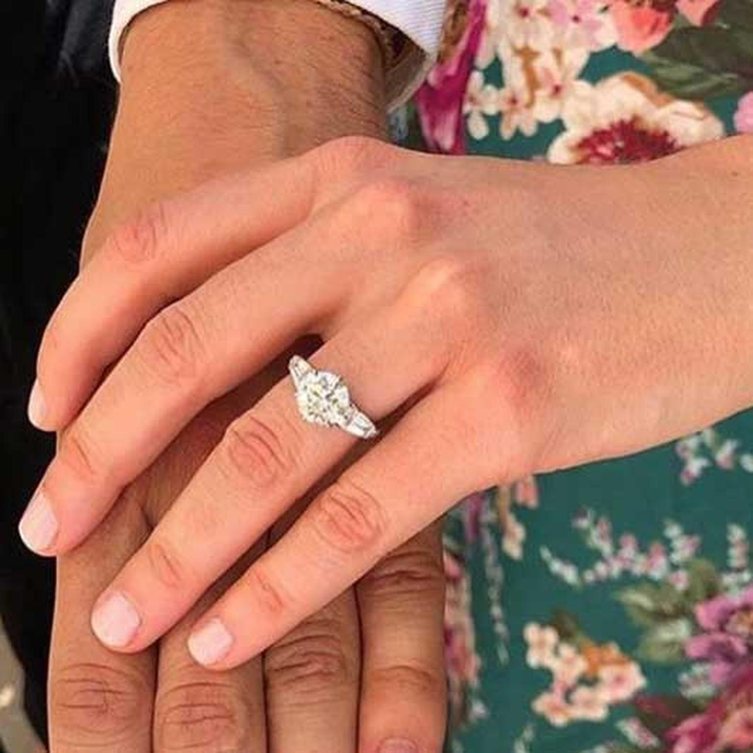 Princess Beatrice engagement ring close up on hand