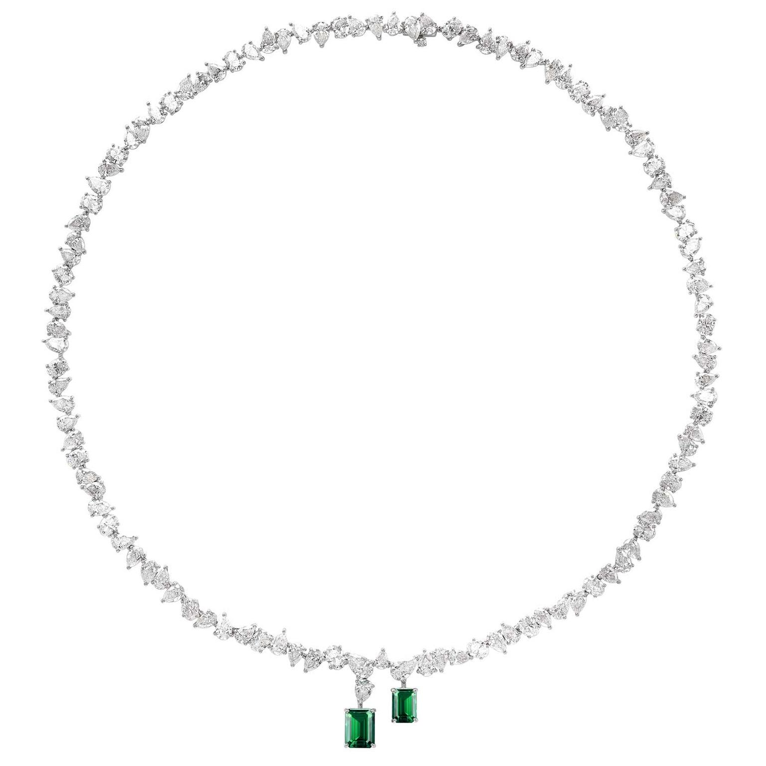 William & Son MYA Gemfields emerald and diamond necklace