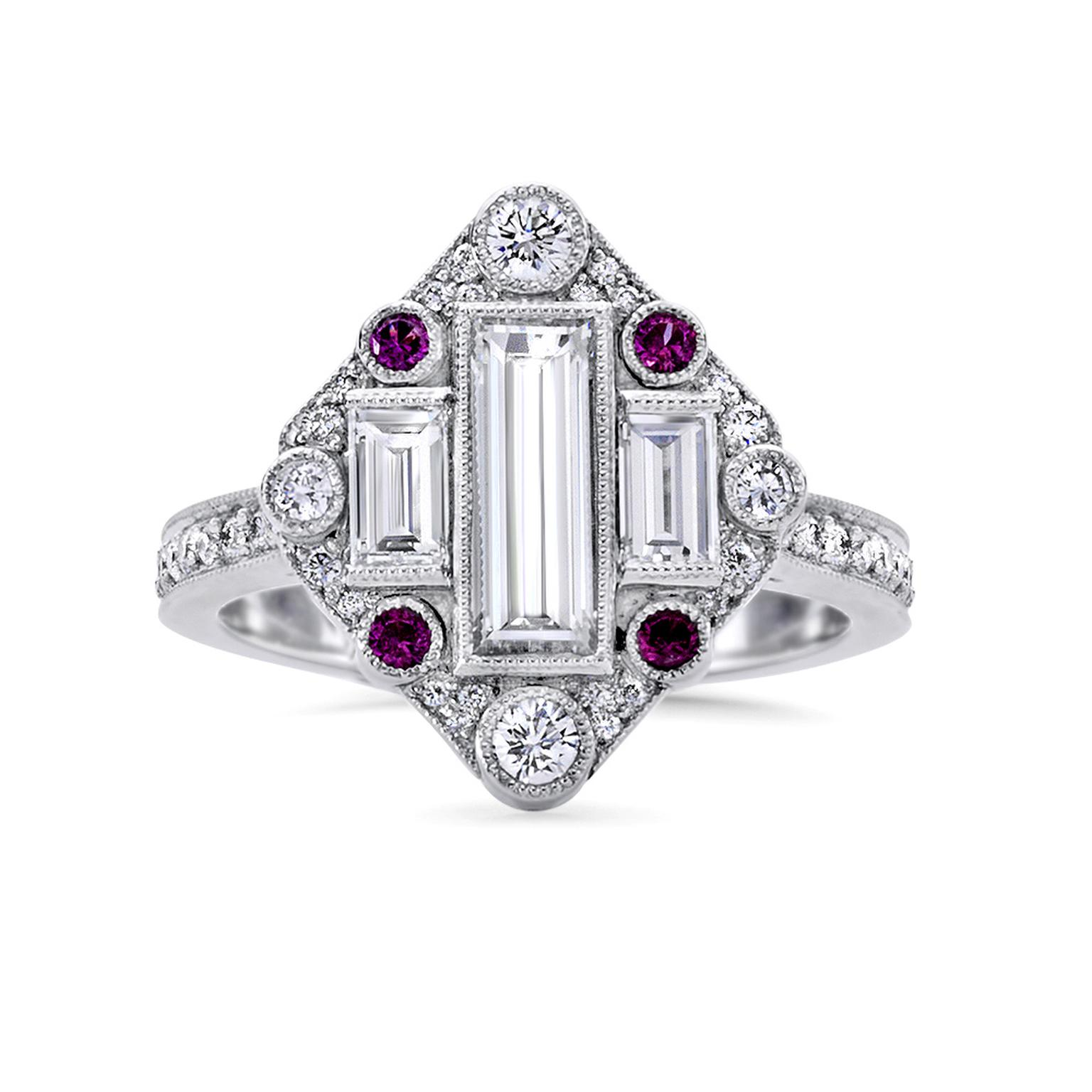 Fairfax & Roberts ruby and diamond engagement ring