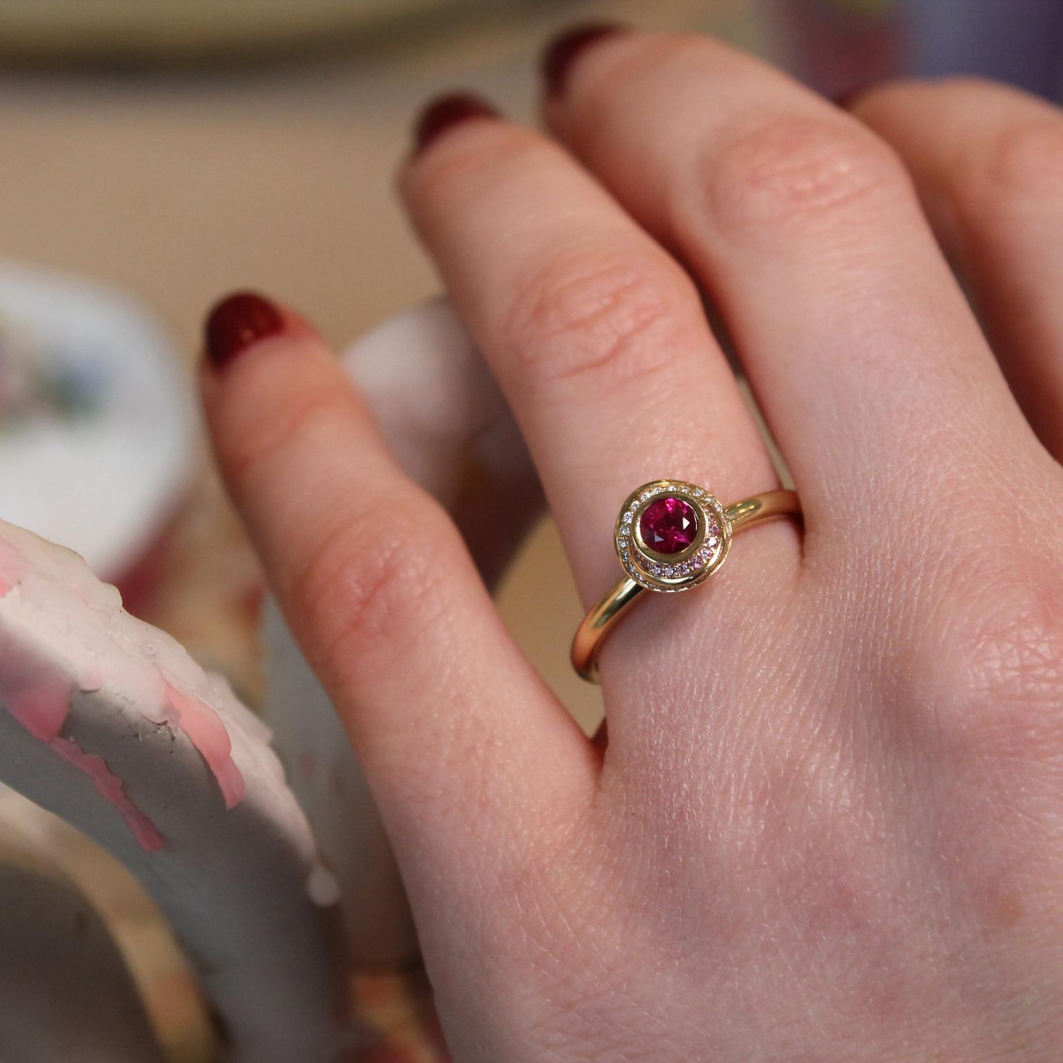 Andrew Geoghegan Clair de Lune ruby engagement ring