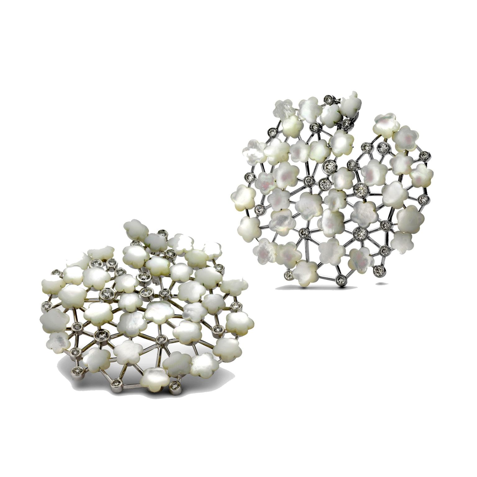 Fei Liu mother-of-pearl Asclepias earrings/hair ornments