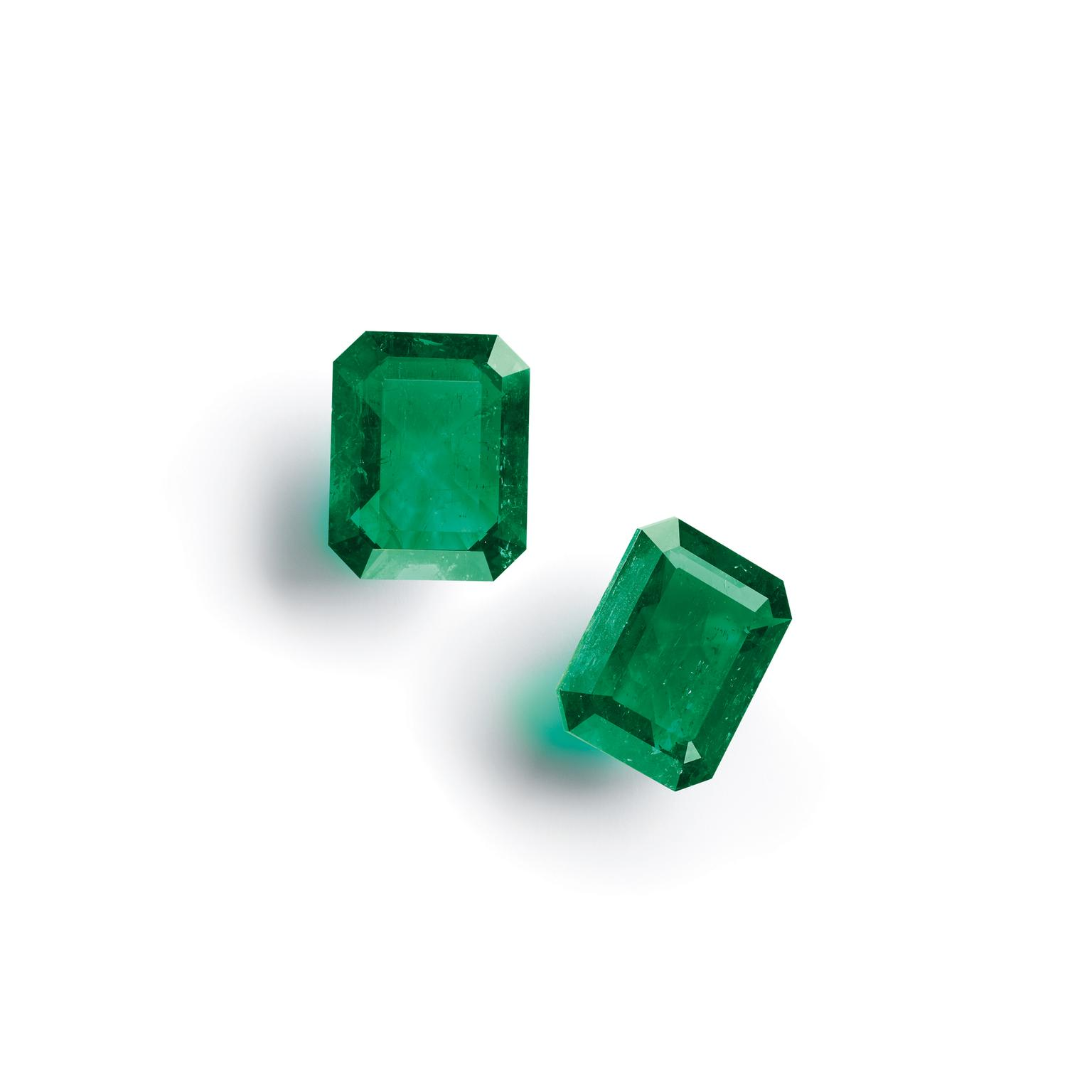 Pair of masterpieces emerald-cut Muzo emeralds