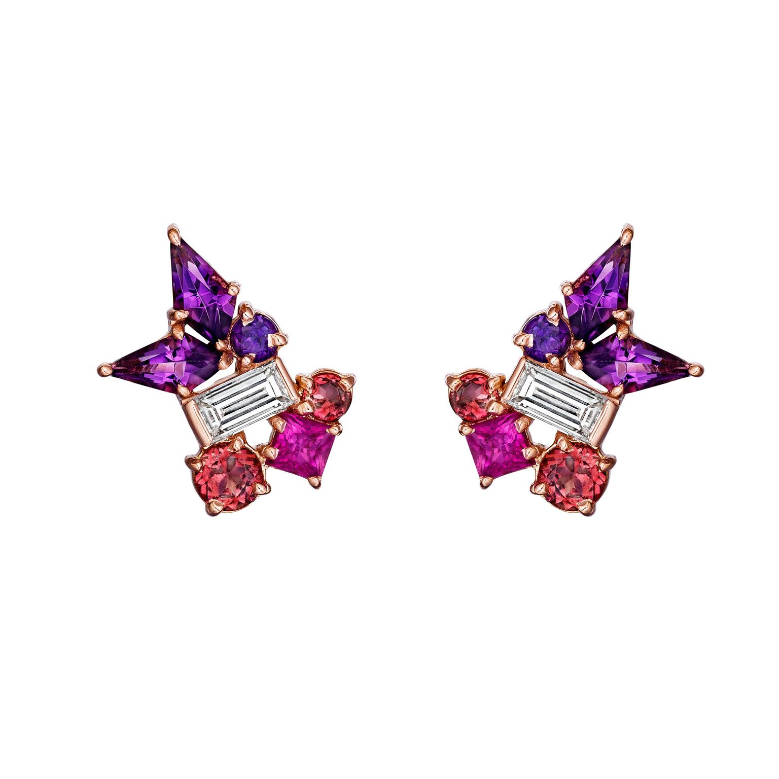 Madstone Design Melting Ice amethyst stud earrings