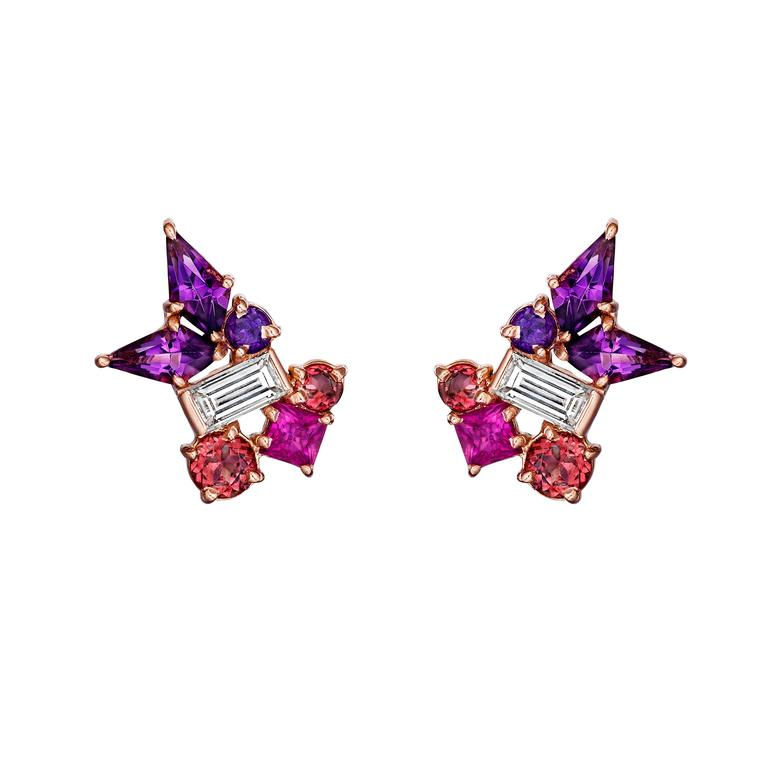 Melting Ice diamond, amethyst and pink sapphire stud earrings