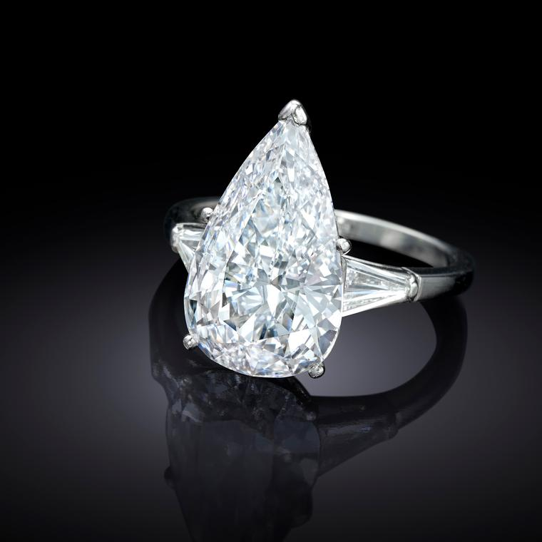 Jackie Collins' pear-shape diamond ring
