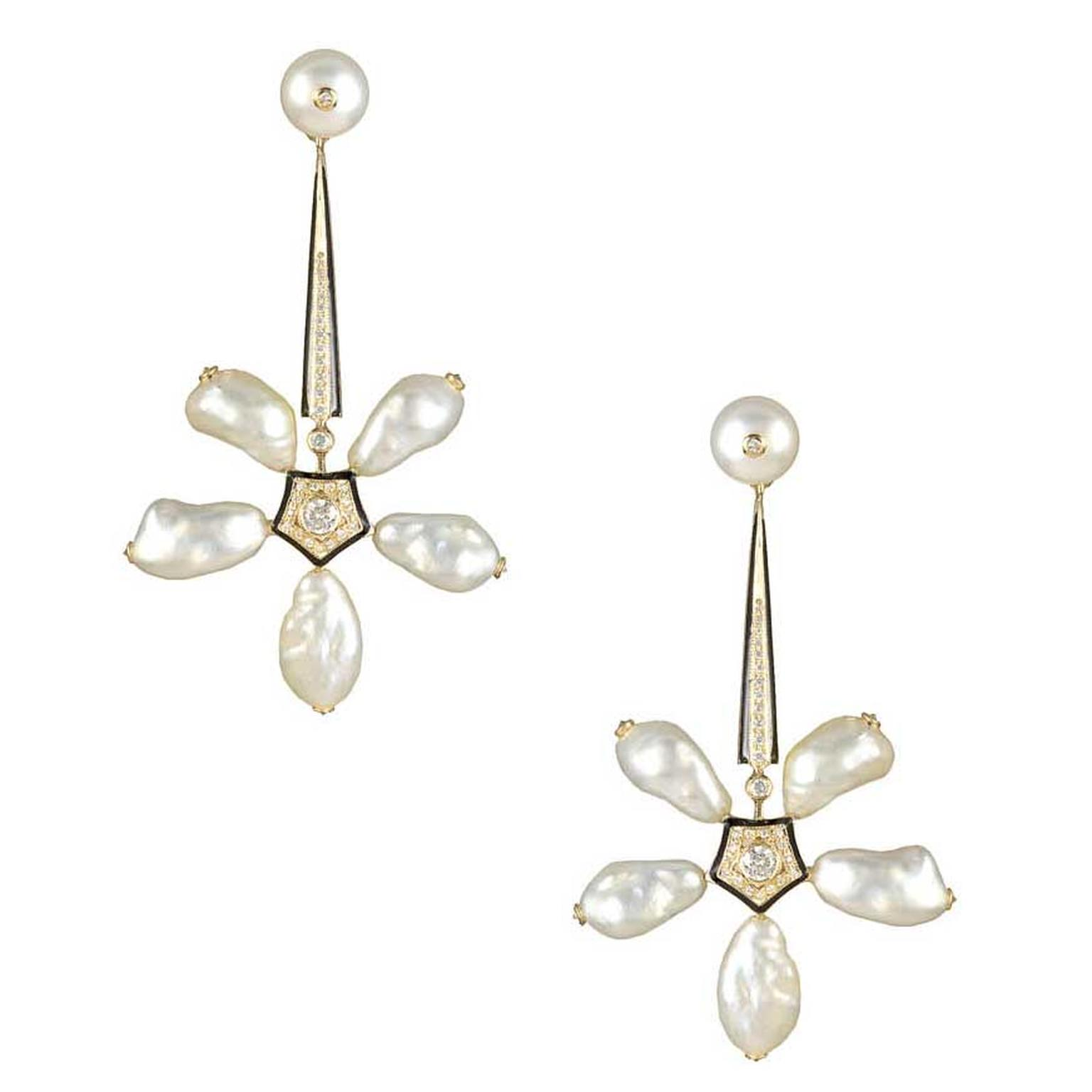 Hanut Singh Narcotic Jasmine natural pearl earrings