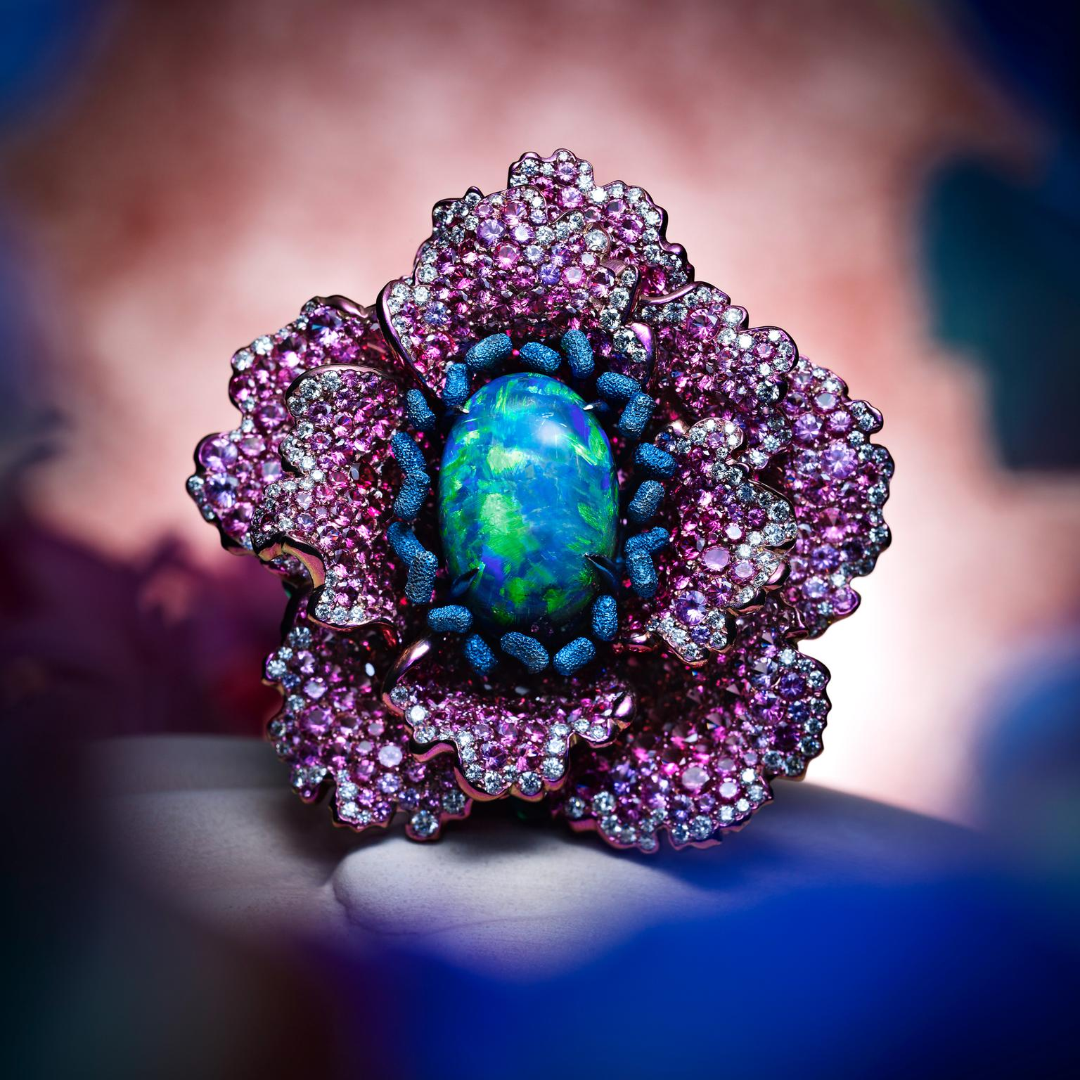 Chopard Fleurs d'Opales ring with spinel diamond sapphire petals