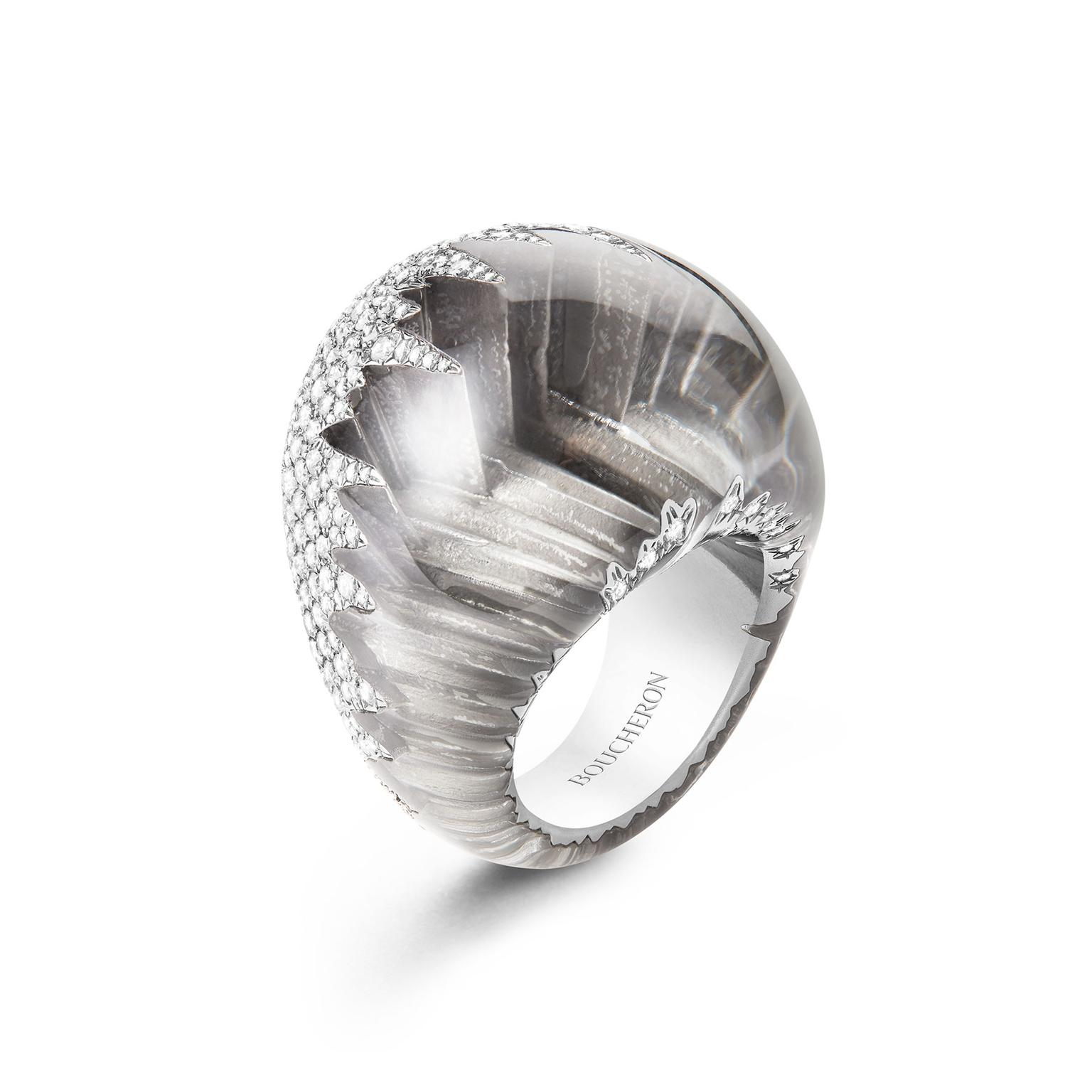 Boucheron Hiver Imperial frosted quartz and diamond ring