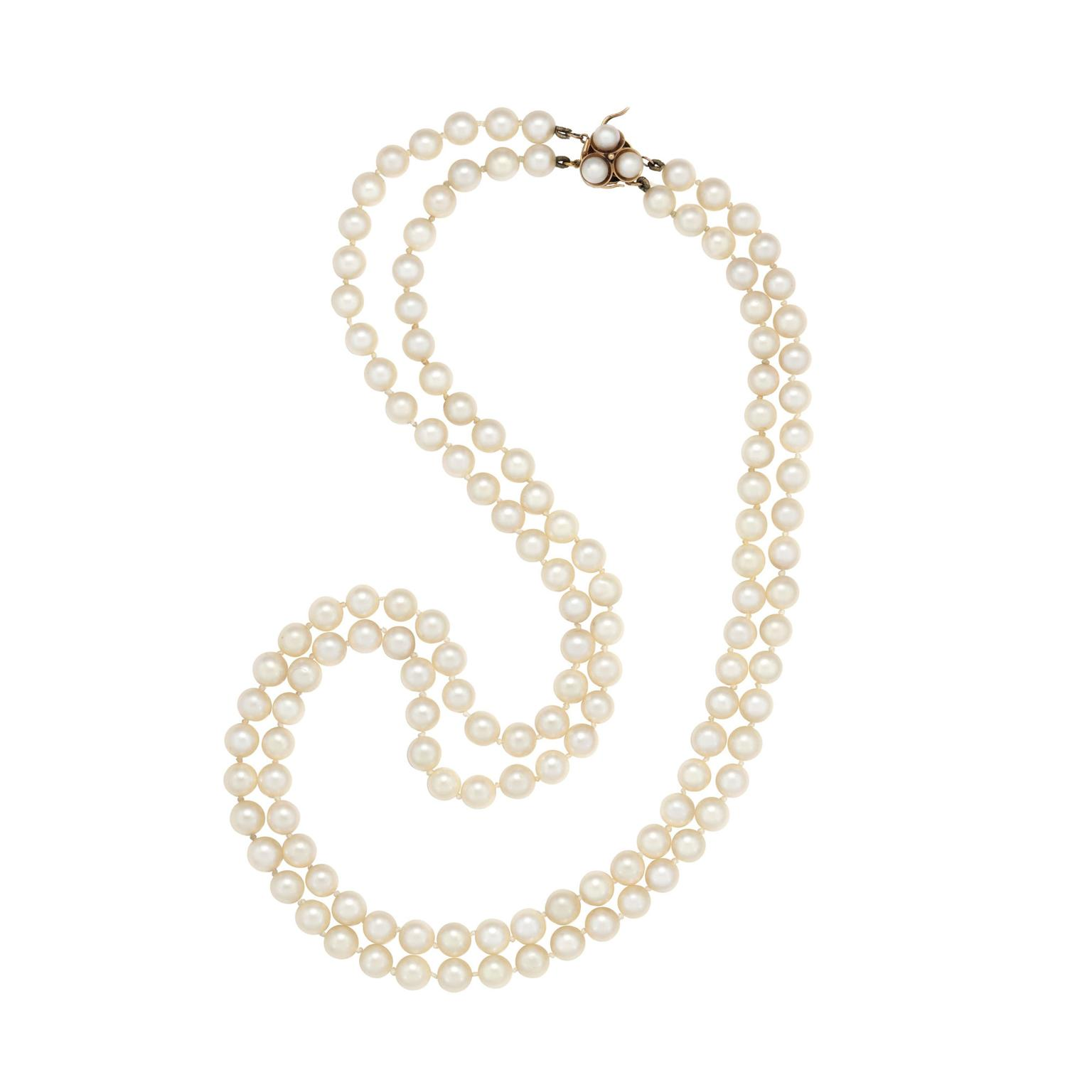 Margaret Thatcher two-row cultured pearl necklace