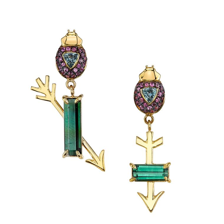 Daniela Villegas Flechados tourmaline and sapphire earrings