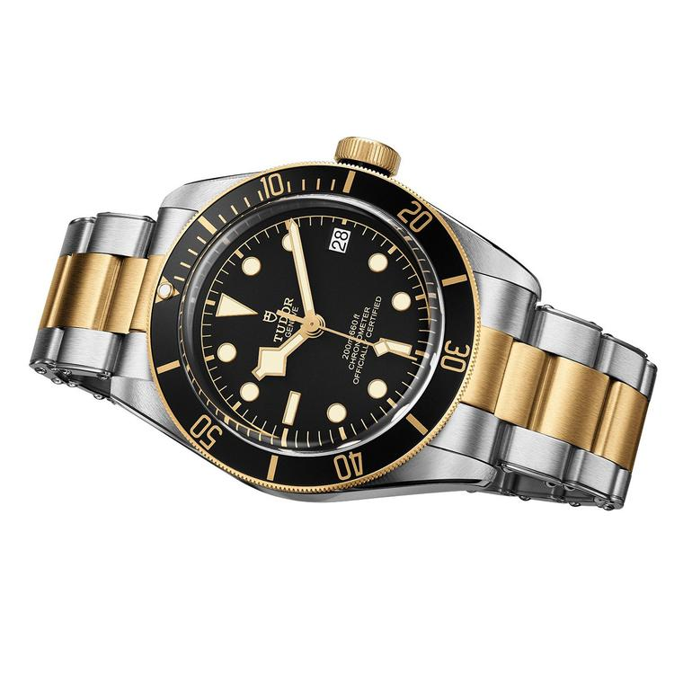 Tudor Heritage Black Bay steel and gold watch with black dial