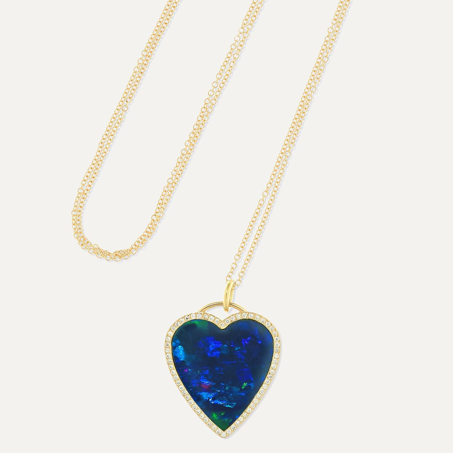 Heart opal necklace by Jennifer Meyer