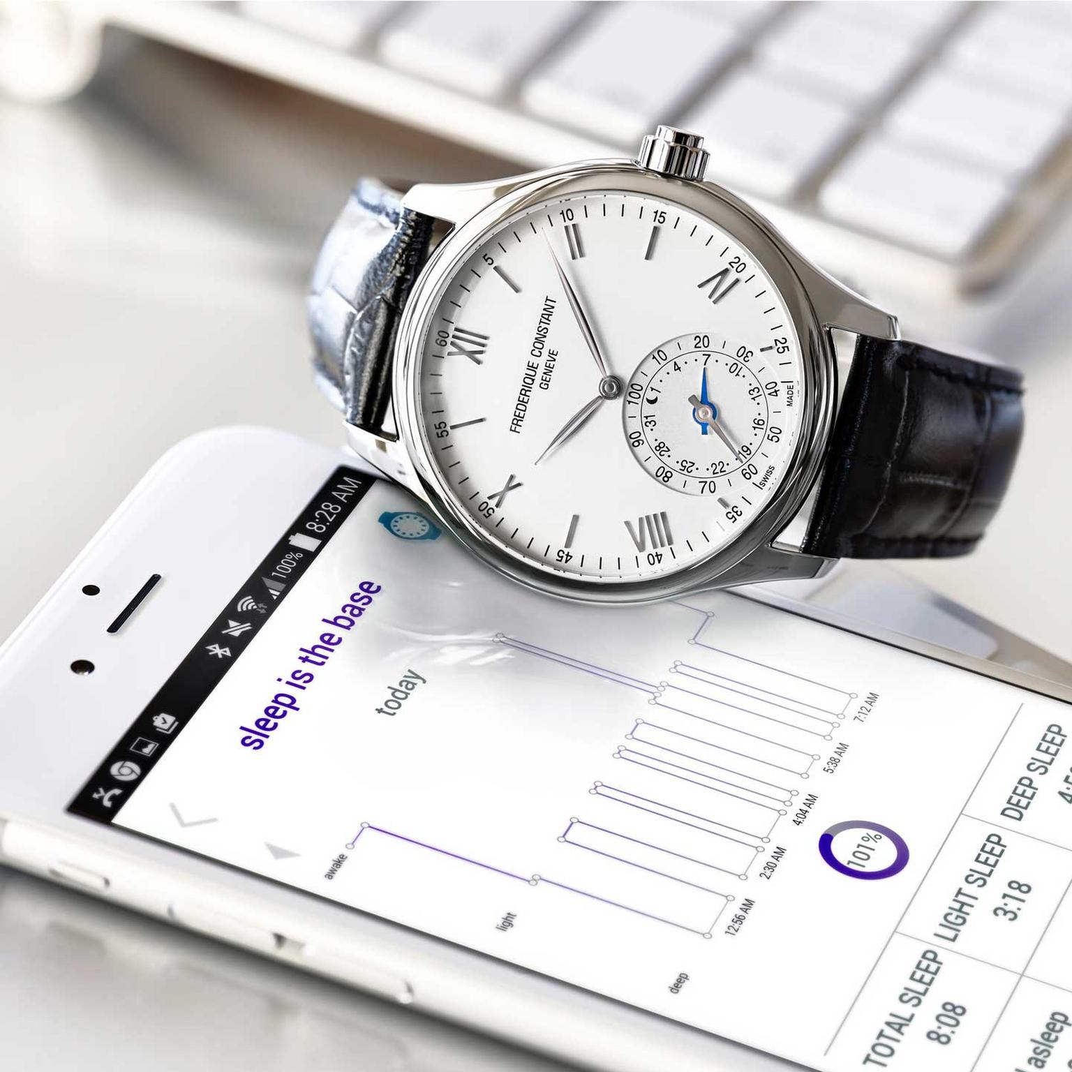 Frédérique Constant Horological smartwatch with black leather strap