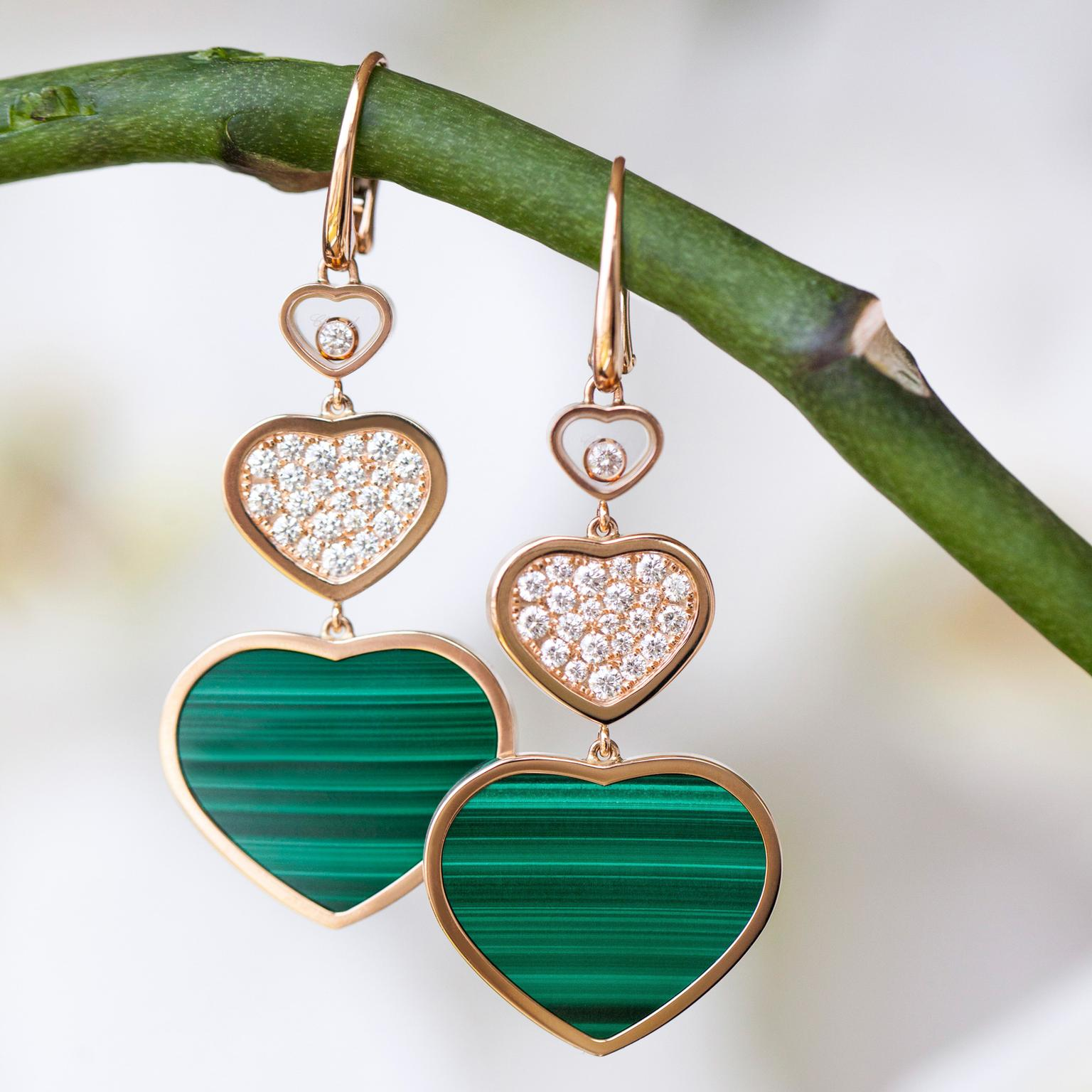 Chopard Happy Heart malachite earrings