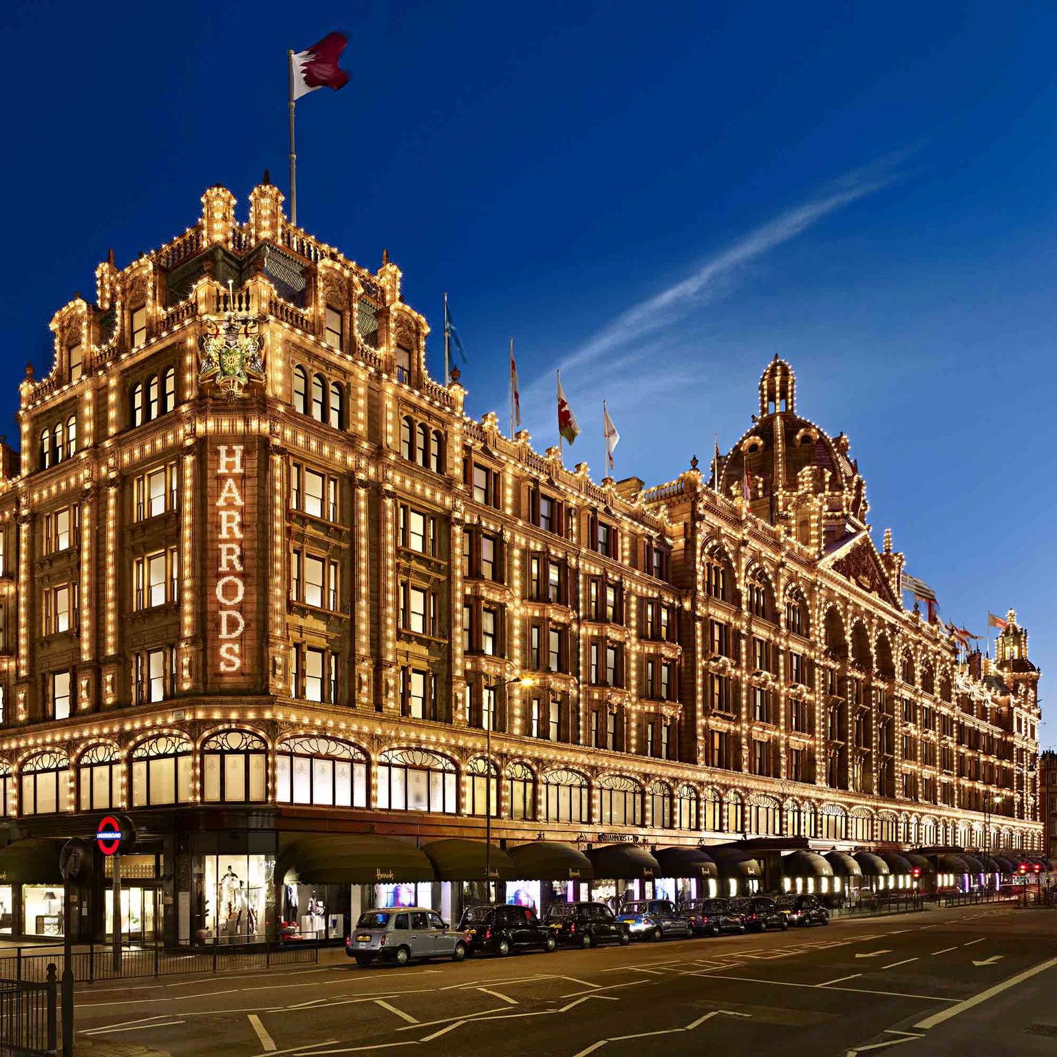 Harrods London exterior shot at night