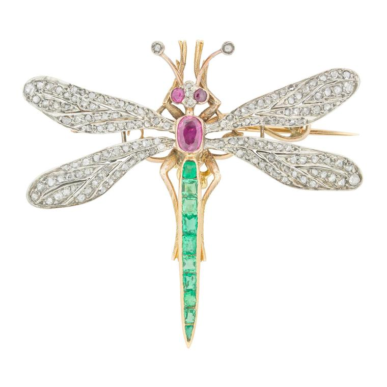 Bentley & Skinner emerald, ruby and rose-cut diamond Victorian dragonfly brooch