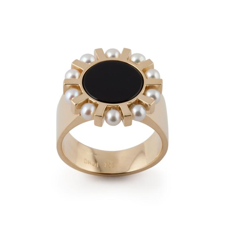 Dina Kamal yellow gold, onyx and pearl ring