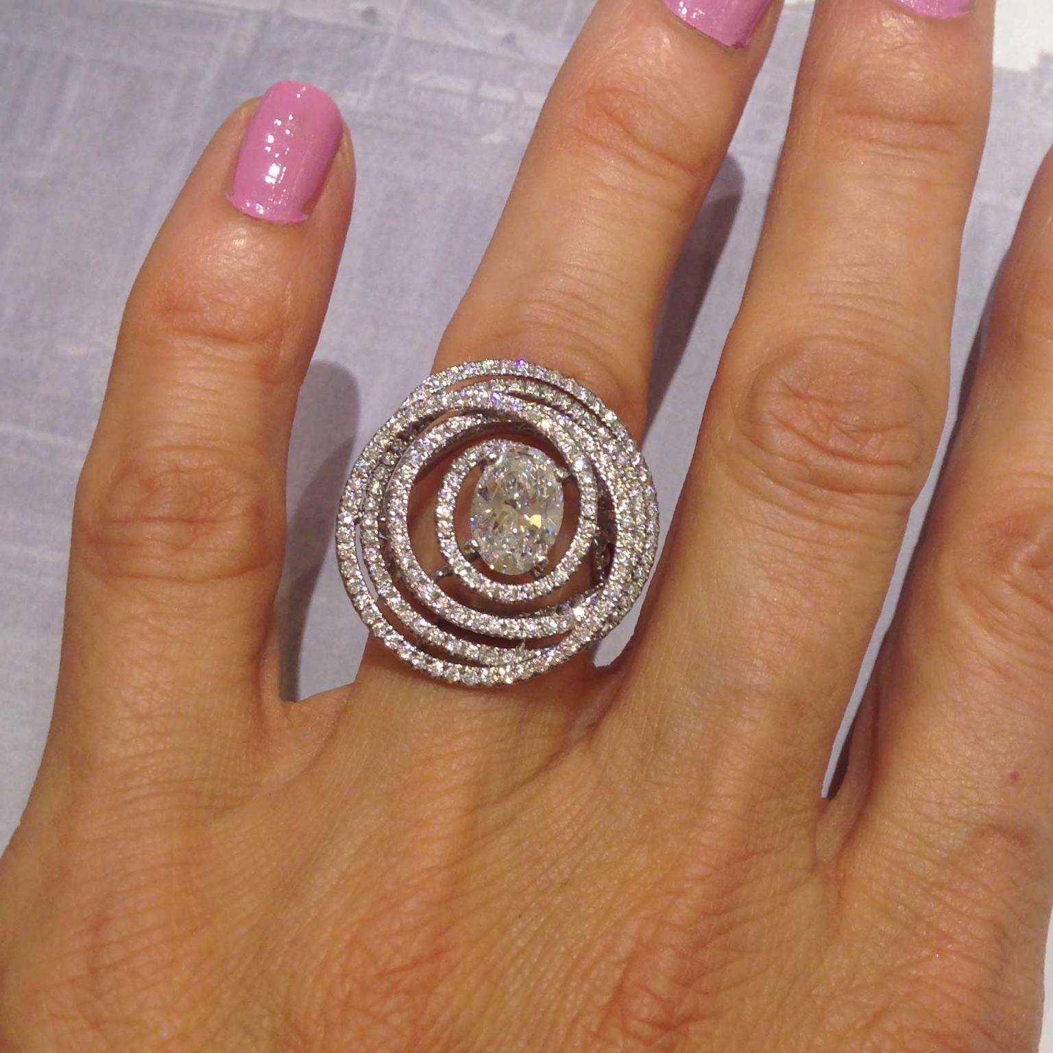 Chanel oval cut diamond ring