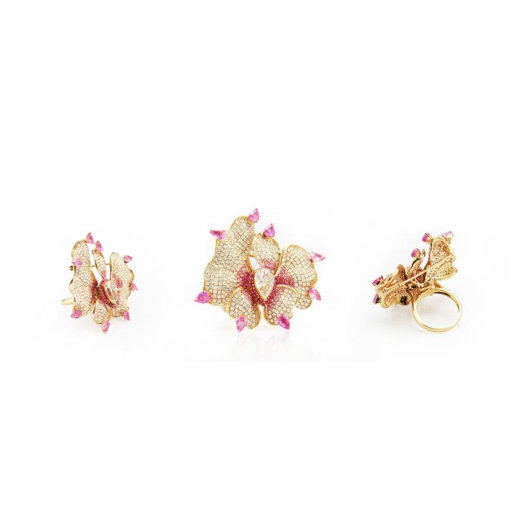 Fei Liu jewellery Orchid Flower ring brooch group