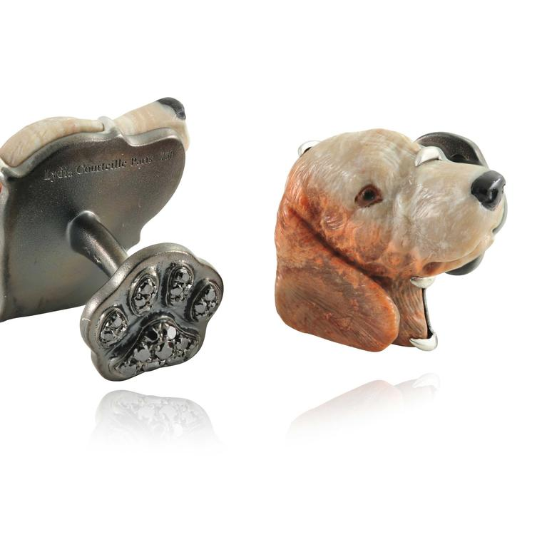 Lydia Courteille pet dog cufflinks special commission