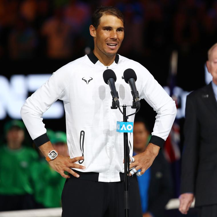 Rafael Nadal accepts his defeat against Roger Federer in 2017 Australian Open wearing a Richard Mille wath