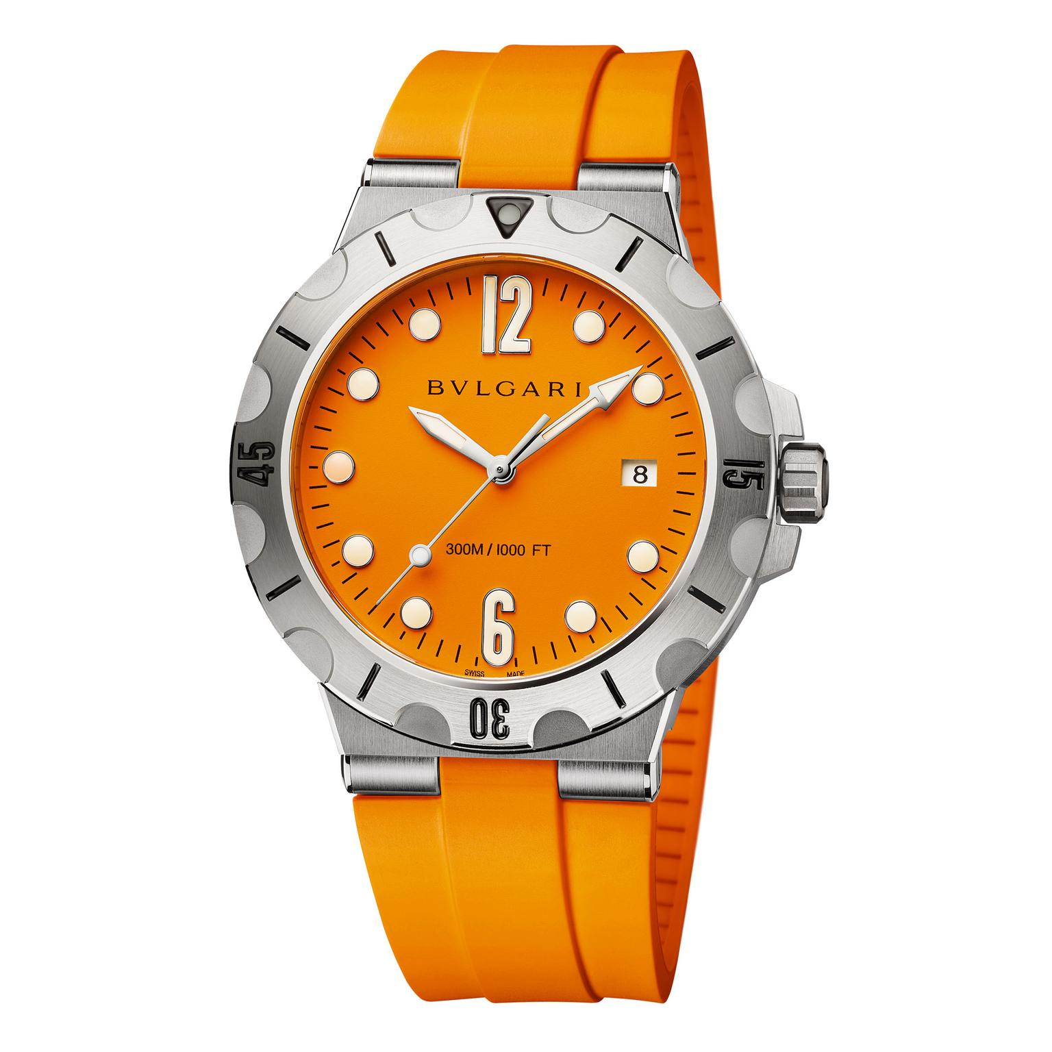 Bulgari Diagono Scuba watch with orange dial