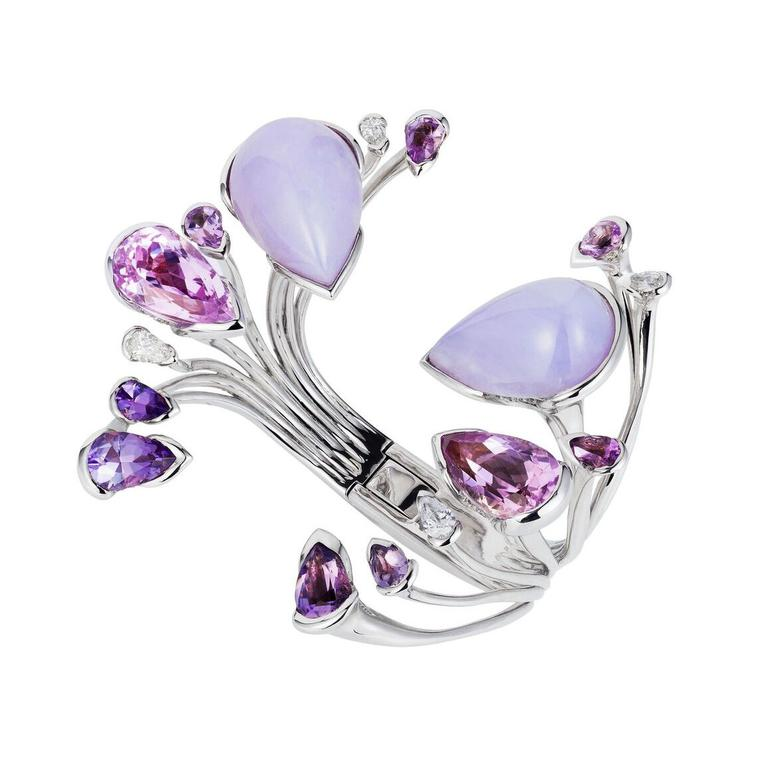 Orchidea coloured gemstone bracelet in white gold