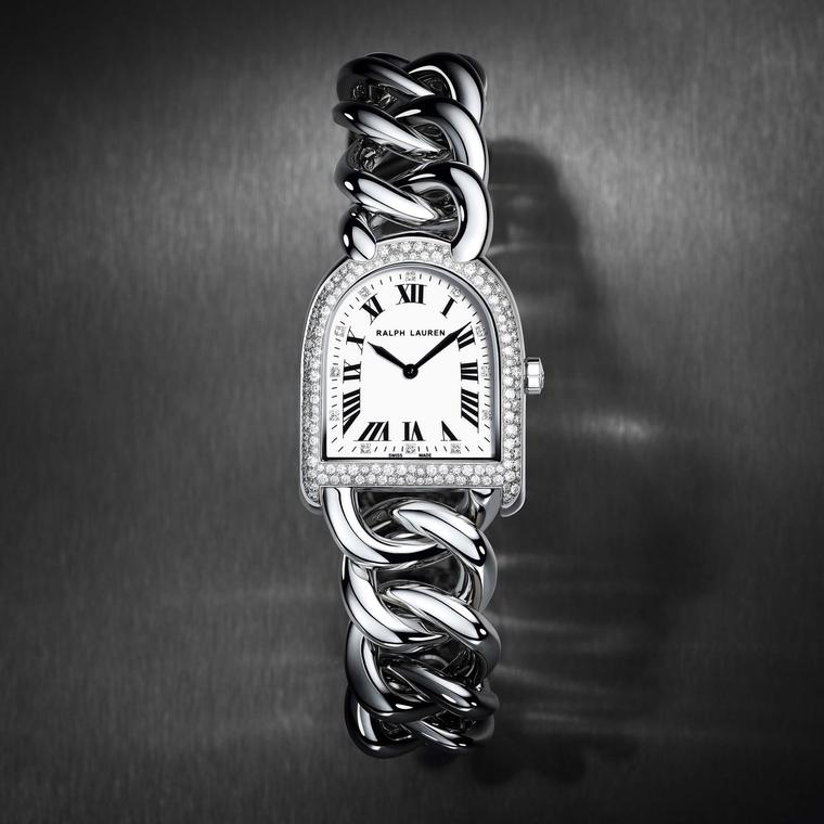 Ralph Lauren's Petite Link Stirrup watch with diamond bezel