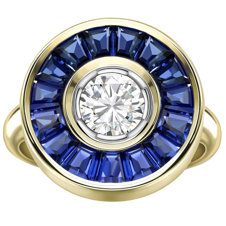 Bespoke Hattie Rickards blue sapphire and diamond engagement ring