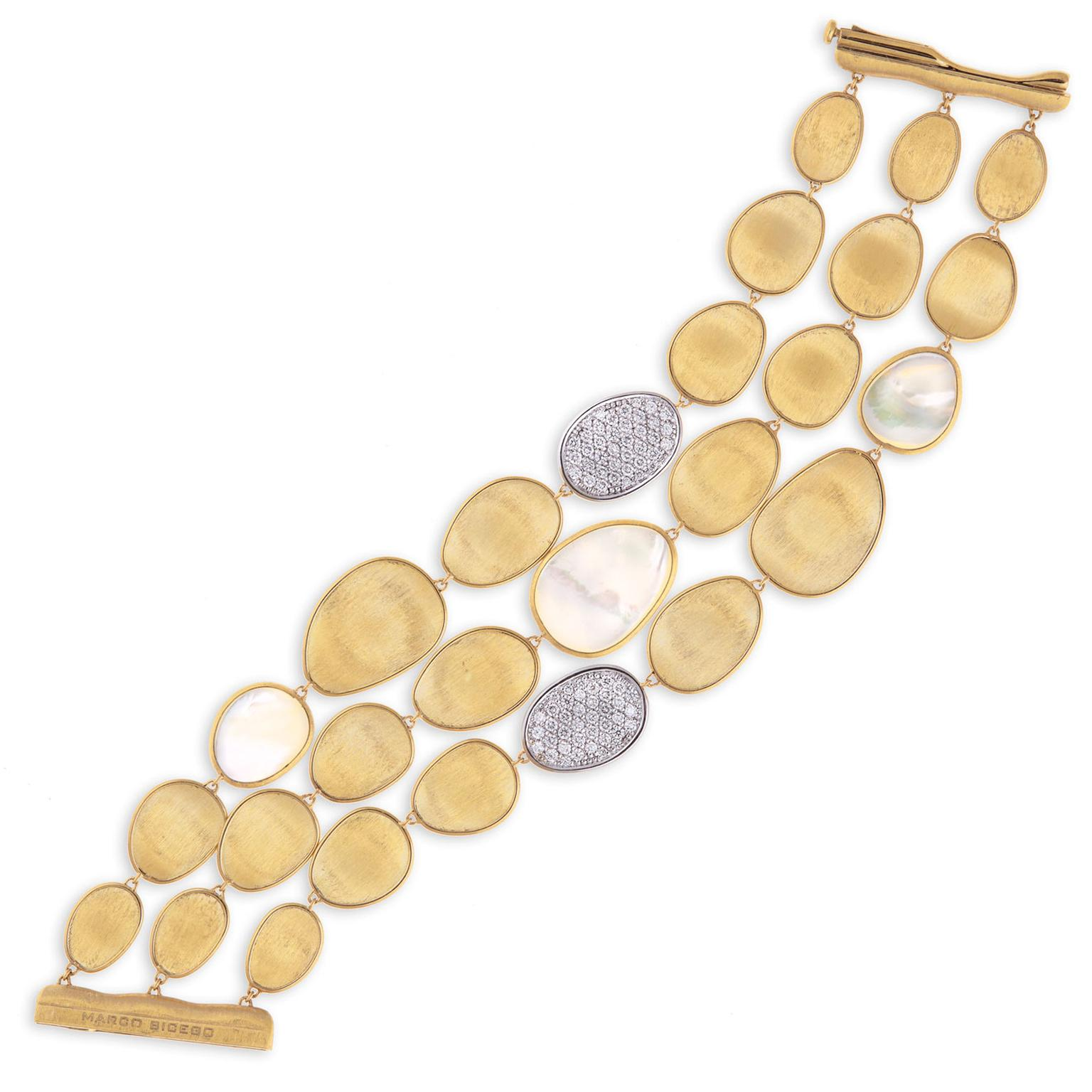Marco Bicego Lunaria mother-of-pearl three strand bracelet