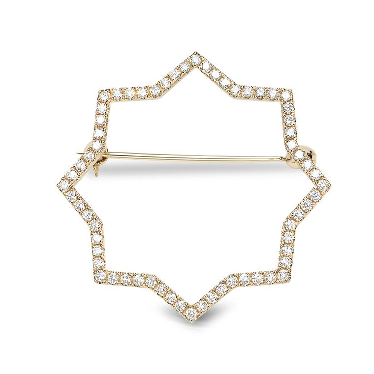 Octium Sun collection yellow gold Star brooch with diamonds