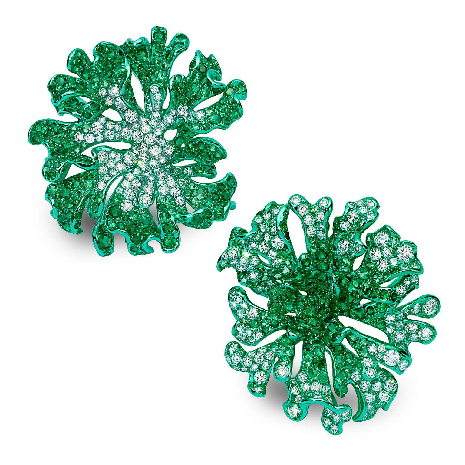 Neha Dani one of a kind custom green rhodium finished Jolene earrings in 18ct gold with diamonds and tsavorites