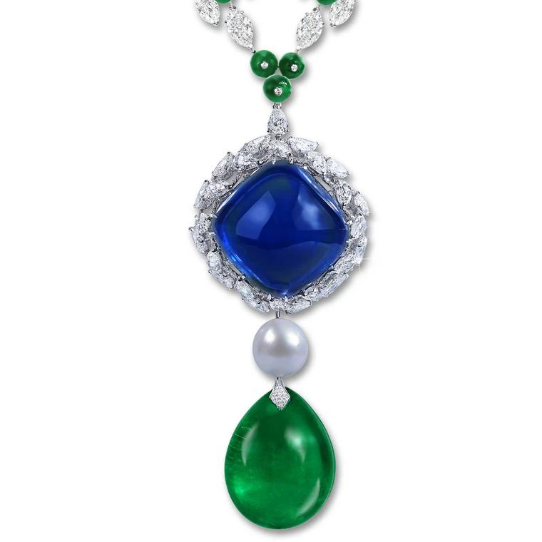 Moussaieff 180.86 carat sapphire and 144.5 carat emerald and natural pearl necklace
