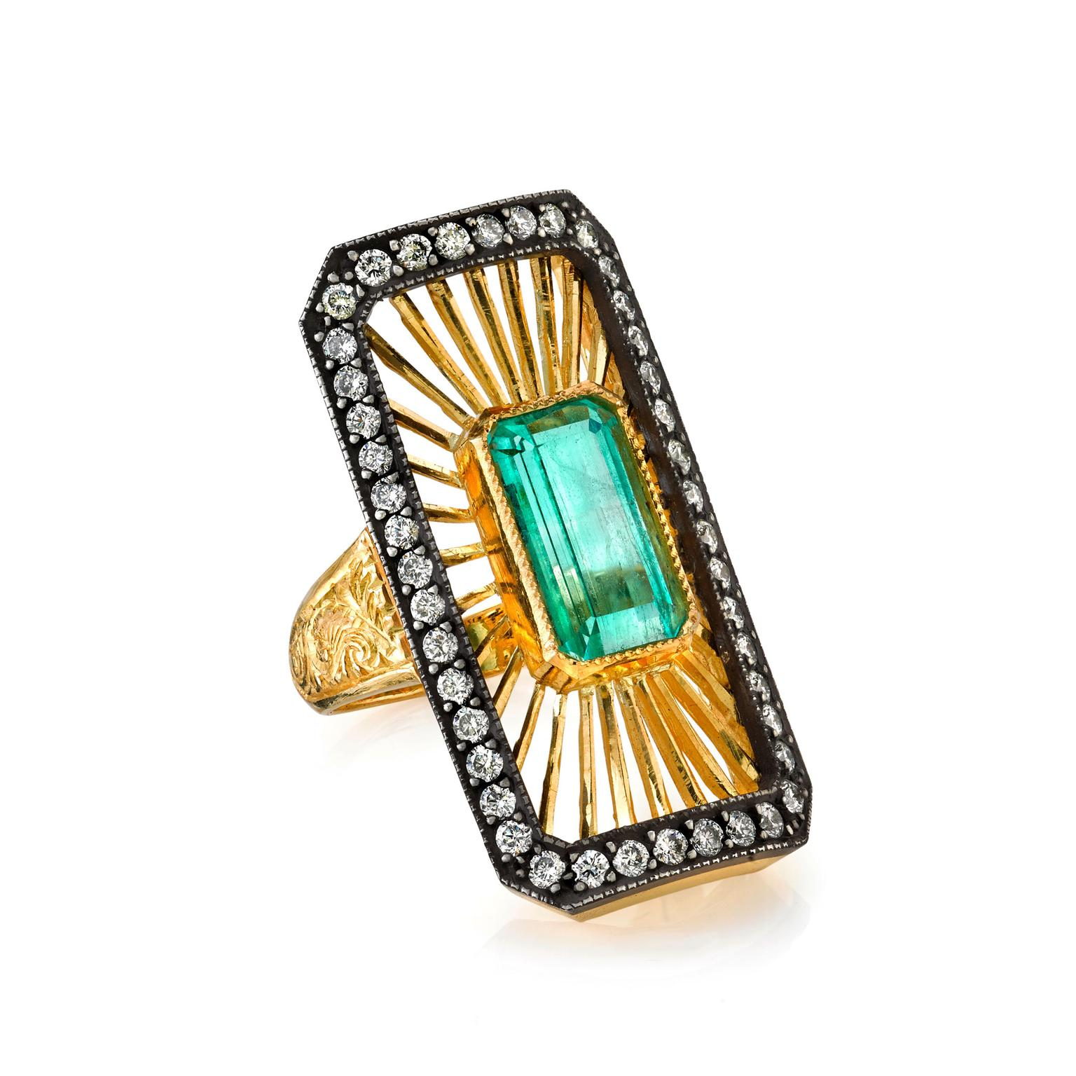 Arman Sarkisyan emerald and diamond ring
