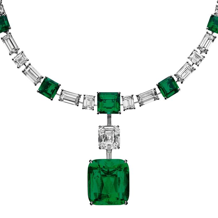 Cartier emerald and diamond necklace