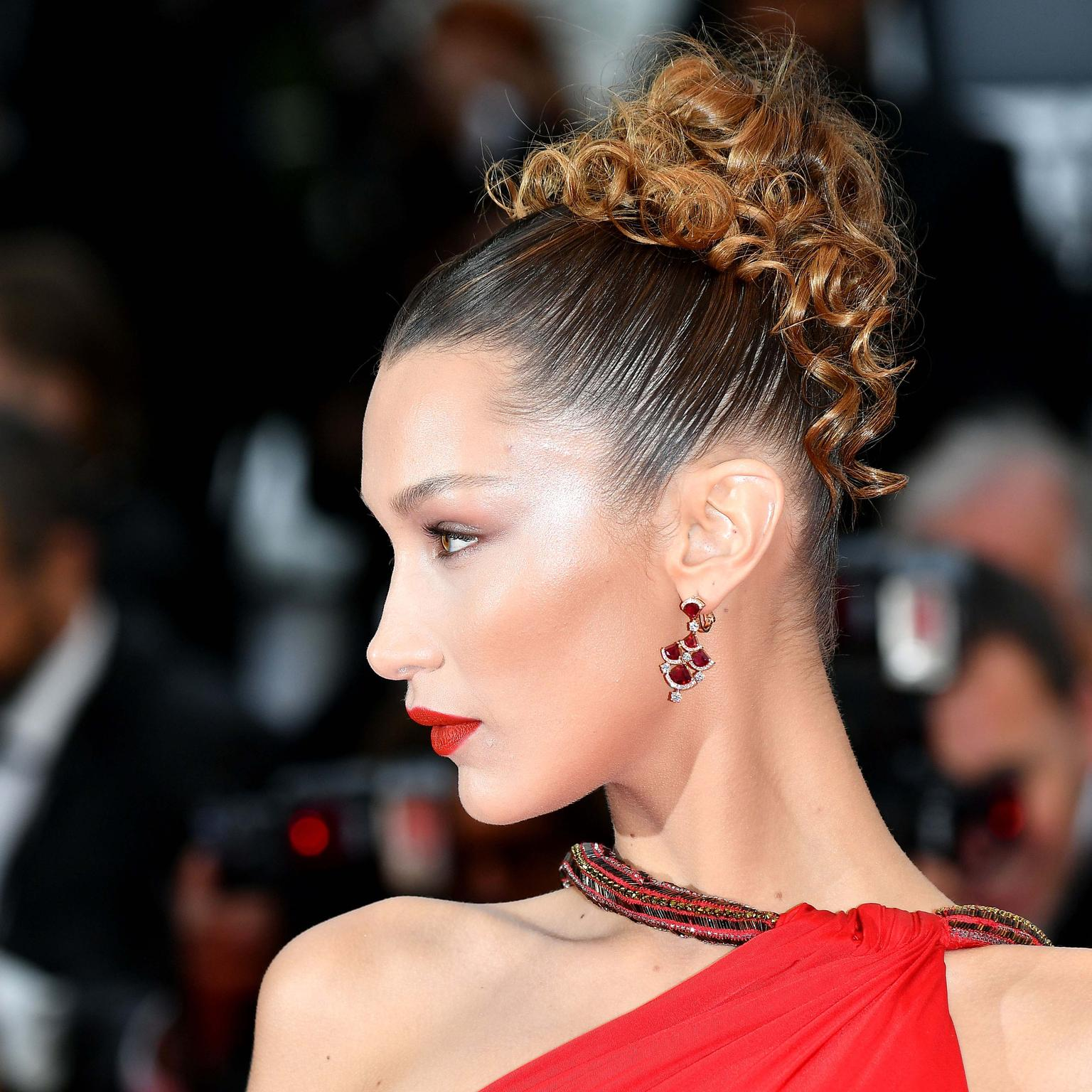 Bella Hadid in Bulgari ruby jewels Cannes 2019