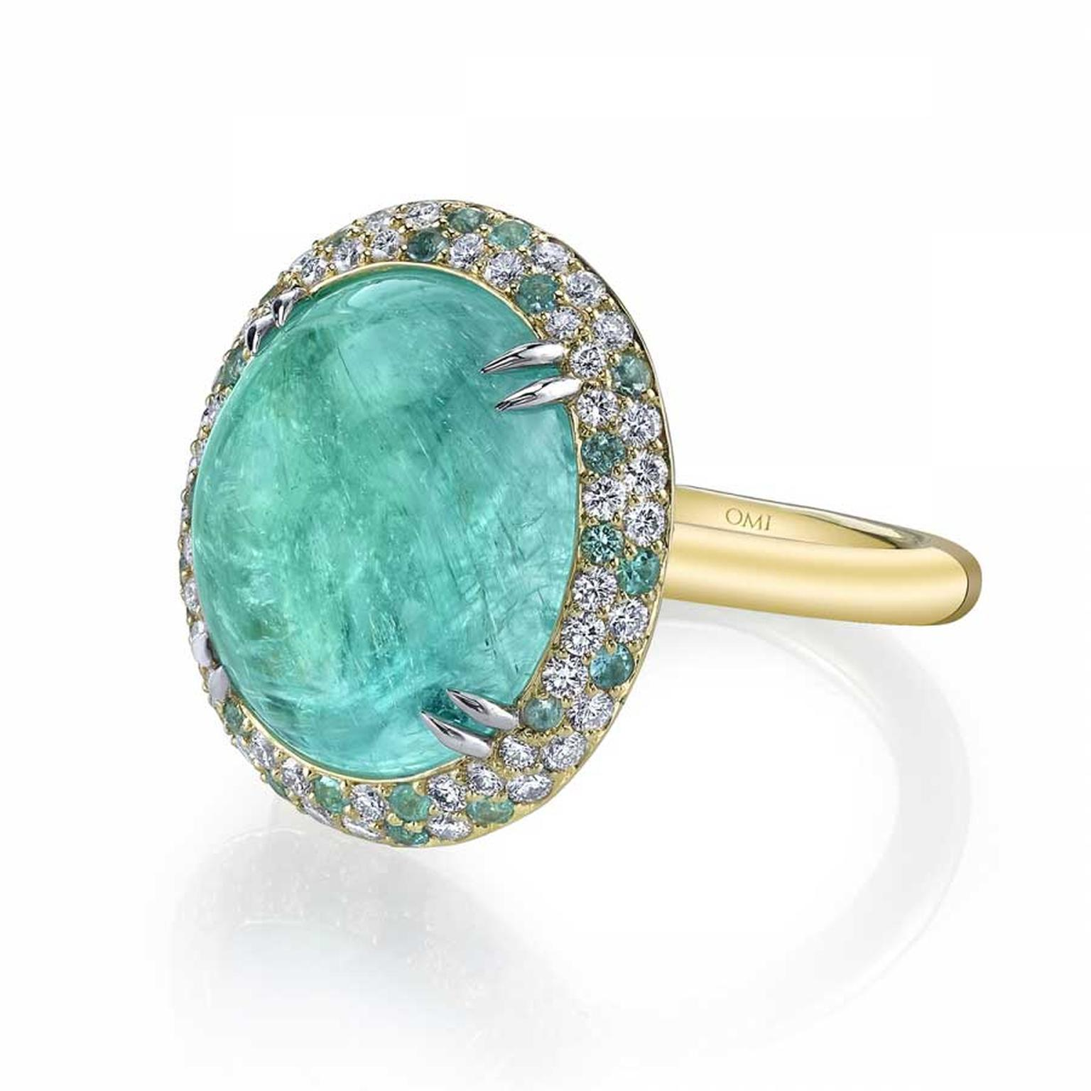 Omi Privé cuprian elbaite and Paraiba tourmaline ring