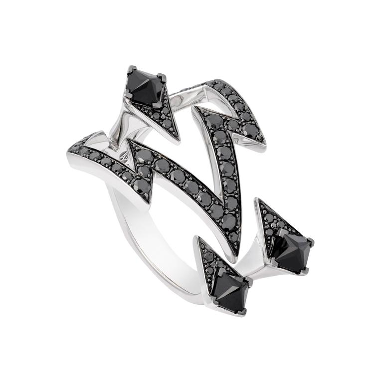Stephen Webster Lady Stardust white gold ring with black diamonds