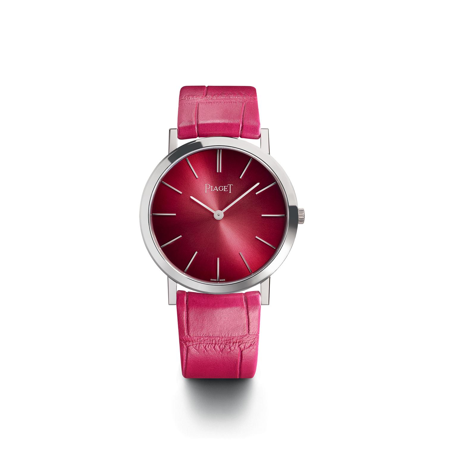 Piaget Altiplano watch in white gold with a pink dial