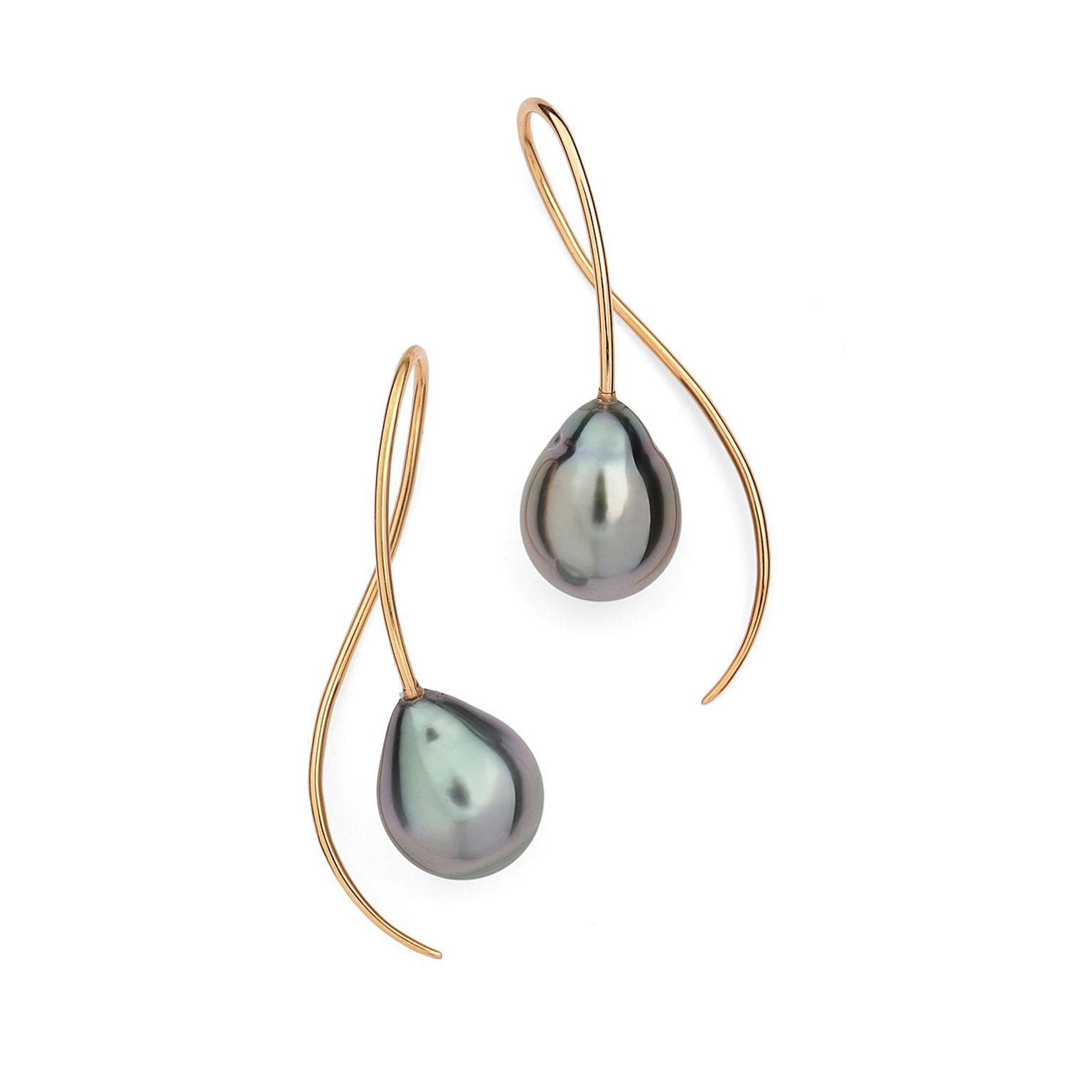 18ct rose gold and Tahitian black pearl drop earrings by McCaul Goldsmiths