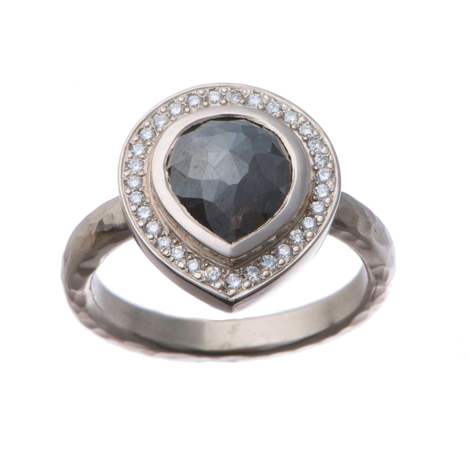 Alexis Dove Lydia charcoal grey diamond engagement ring